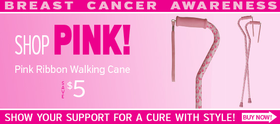 Pink Ribbon Breast Cancer Awareness Walking Cane