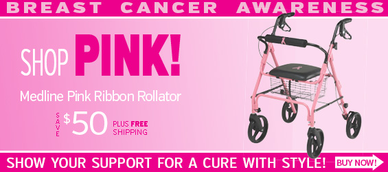 Medline Breast Cancer Awareness Rollator in PINK