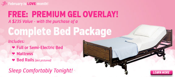 Free gel overlay with the purchase of full or semi electric bed package