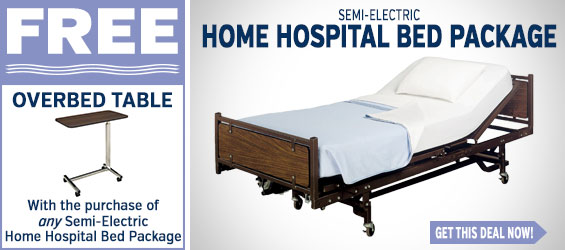 Semi Electric Home Hospital Bed Package + FREE Over Bed Table